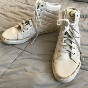 White G By Guess Hightops Gold Trim